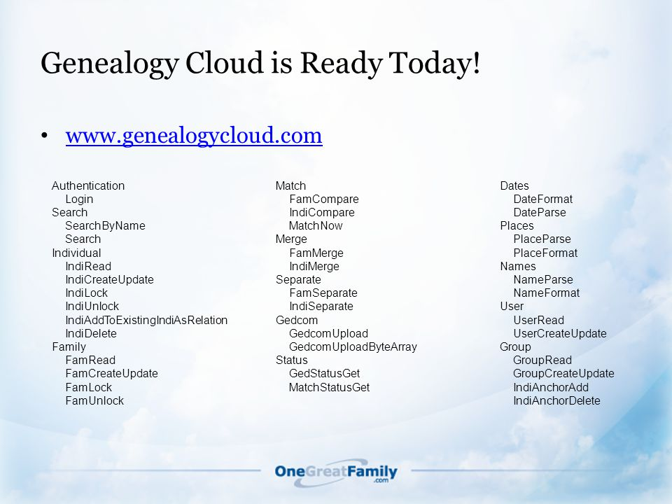 Genealogy Cloud is Ready Today.