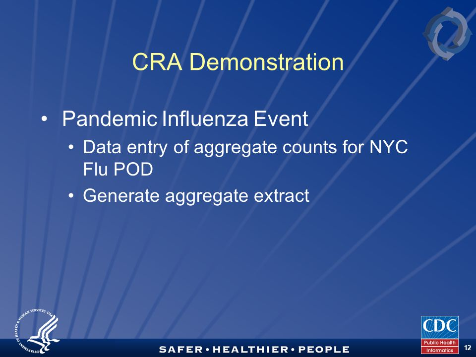 TM 12 CRA Demonstration Pandemic Influenza Event Data entry of aggregate counts for NYC Flu POD Generate aggregate extract
