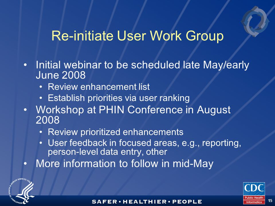 TM 15 Re-initiate User Work Group Initial webinar to be scheduled late May/early June 2008 Review enhancement list Establish priorities via user ranking Workshop at PHIN Conference in August 2008 Review prioritized enhancements User feedback in focused areas, e.g., reporting, person-level data entry, other More information to follow in mid-May