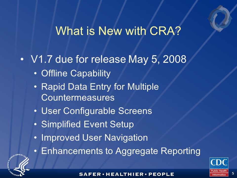 TM 5 What is New with CRA.