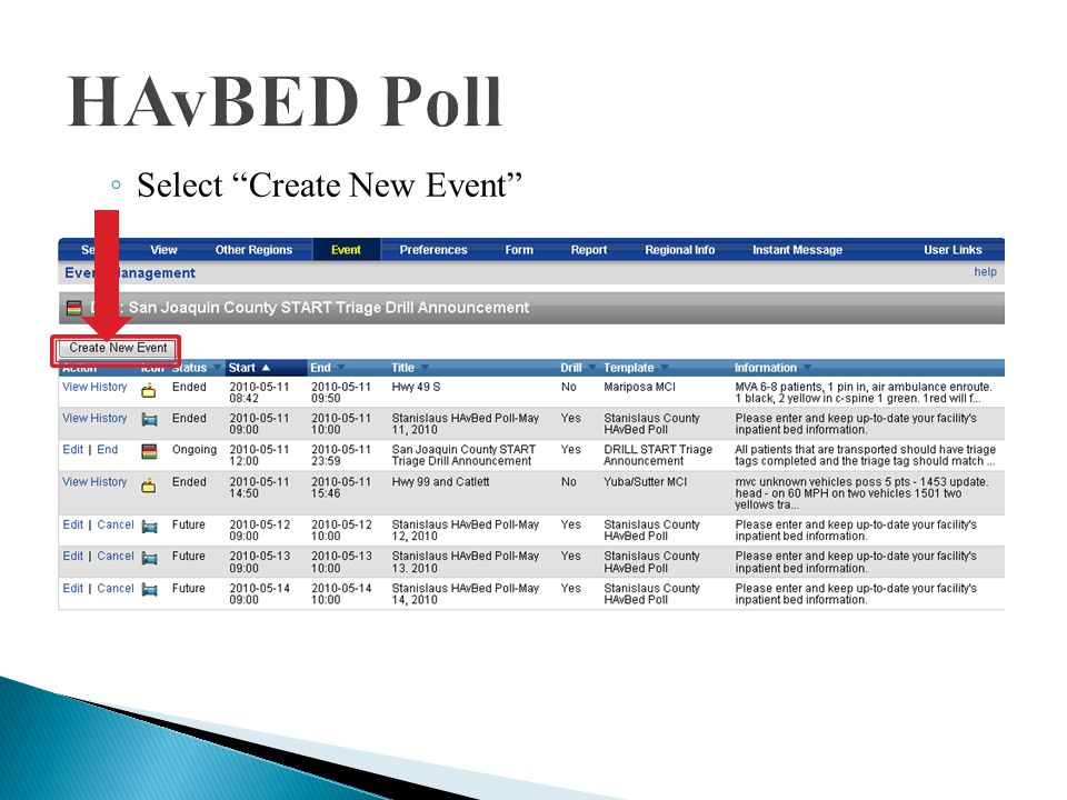  To created a HAvBED poll in EMResource: ◦ Select Event on the EMResource menu ◦ Select Event Management