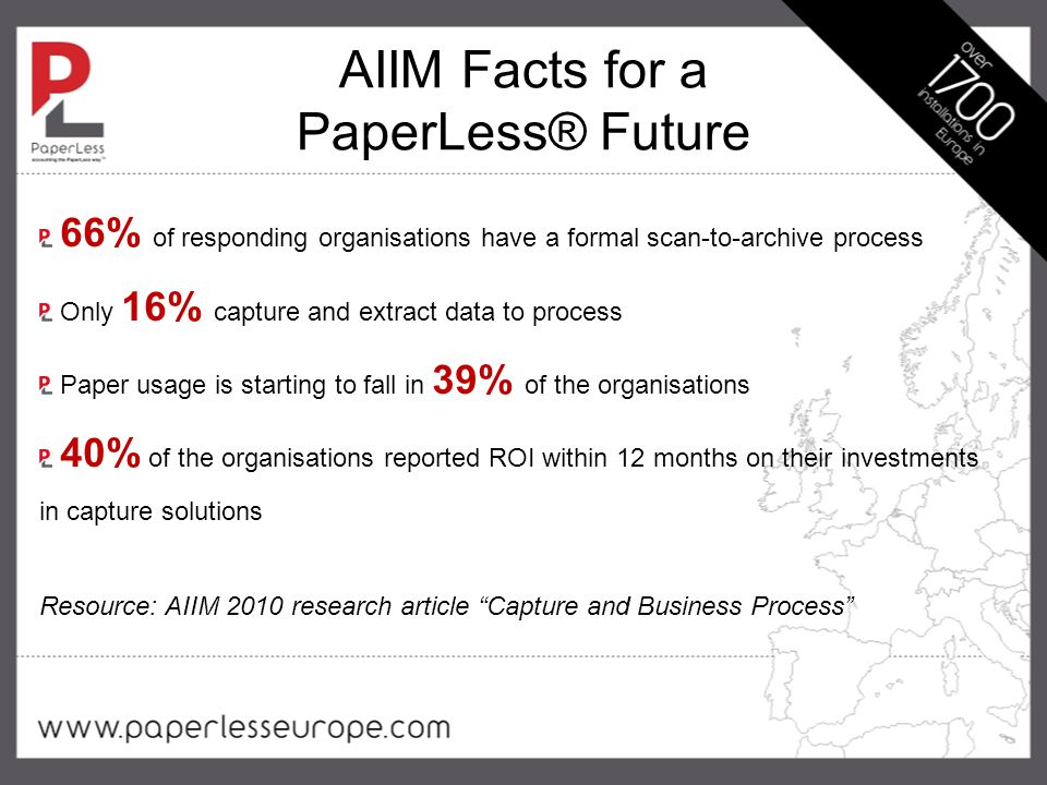 AIIM Facts for a PaperLess® Future 66% of responding organisations have a formal scan-to-archive process Only 16% capture and extract data to process Paper usage is starting to fall in 39% of the organisations 40% of the organisations reported ROI within 12 months on their investments in capture solutions Resource: AIIM 2010 research article Capture and Business Process