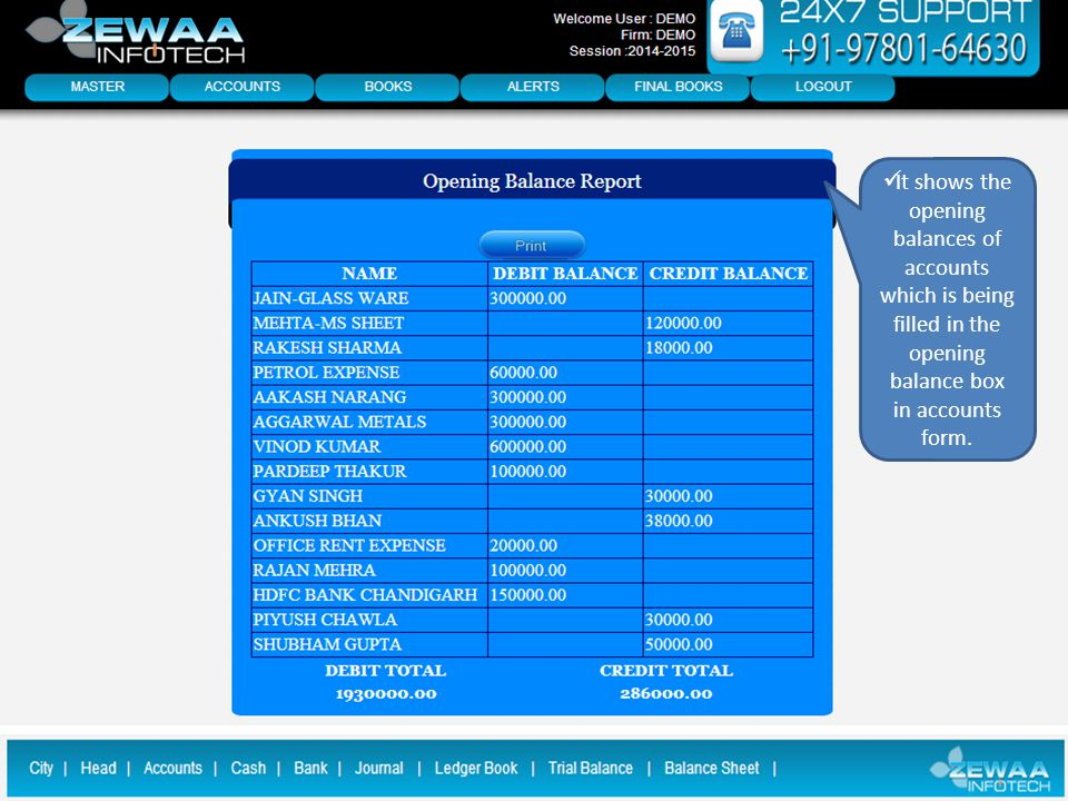 It shows the opening balances of accounts which is being filled in the opening balance box in accounts form.