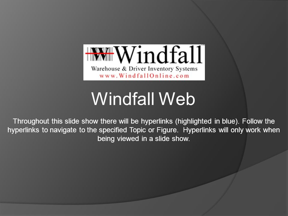 Windfall Web Throughout this slide show there will be hyperlinks (highlighted in blue).