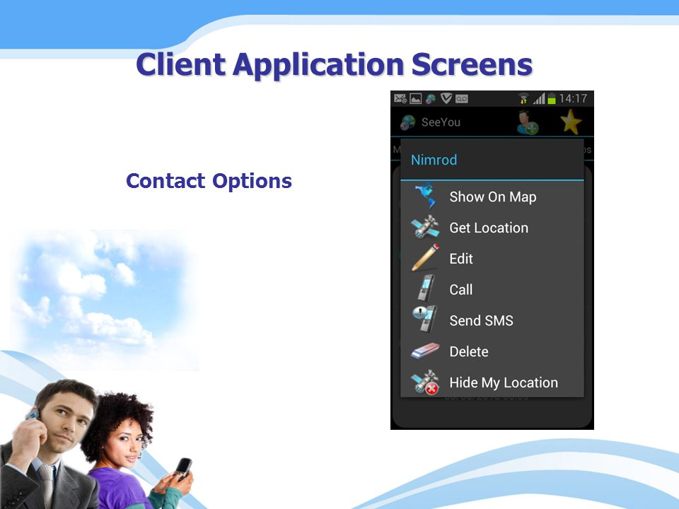 Contact Options Client Application Screens