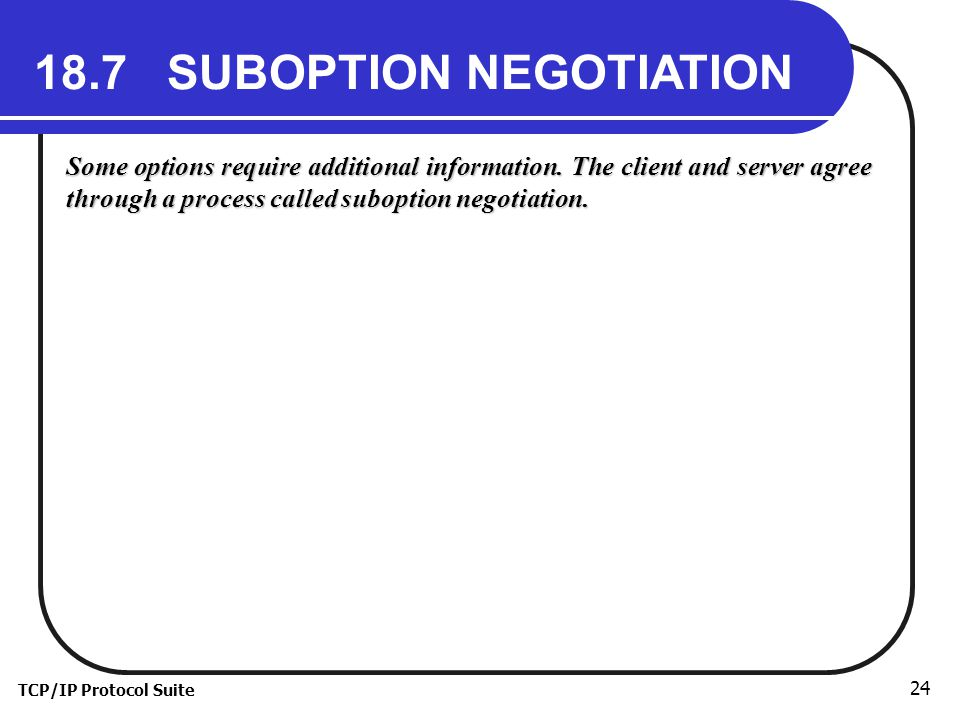 TCP/IP Protocol Suite 24 18.7 SUBOPTION NEGOTIATION Some options require additional information.