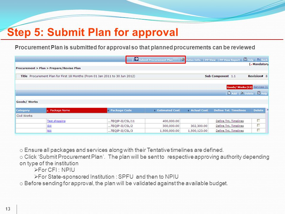 13 Step 5: Submit Plan for approval o Ensure all packages and services along with their Tentative timelines are defined.