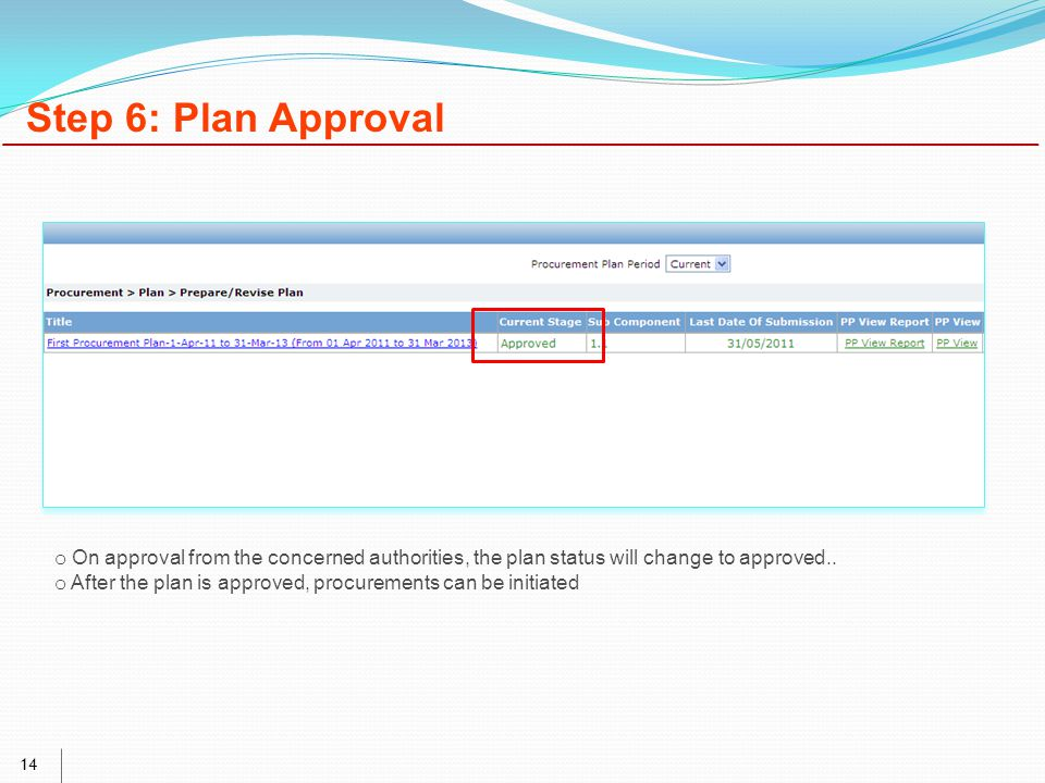 14 Step 6: Plan Approval o On approval from the concerned authorities, the plan status will change to approved..