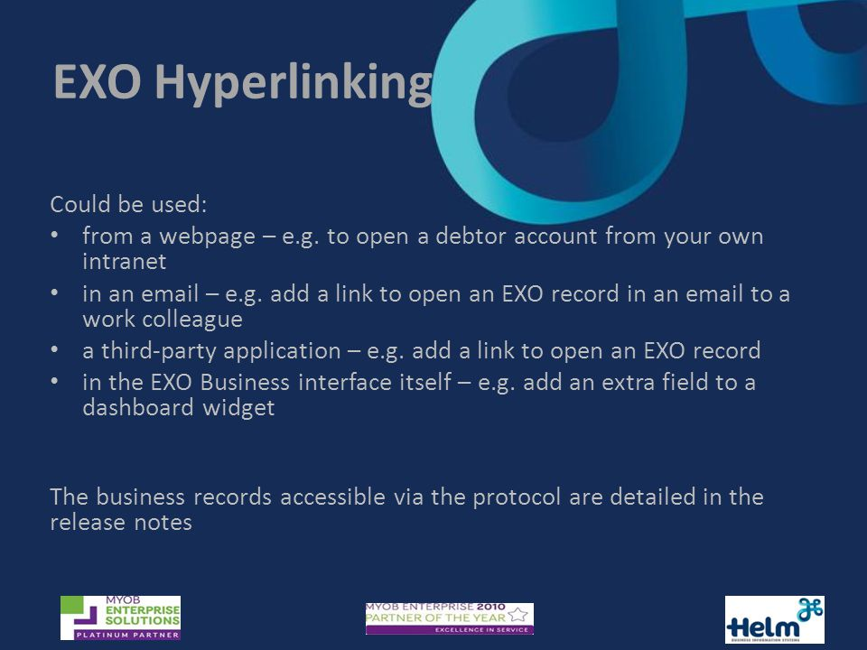 EXO Hyperlinking Could be used: from a webpage – e.g.