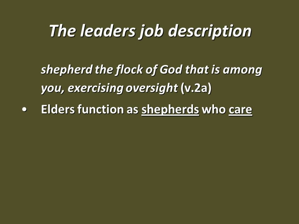 The leaders job description shepherd the flock of God that is among you, exercising oversight (v.2a) Elders function as shepherds who careElders function as shepherds who care
