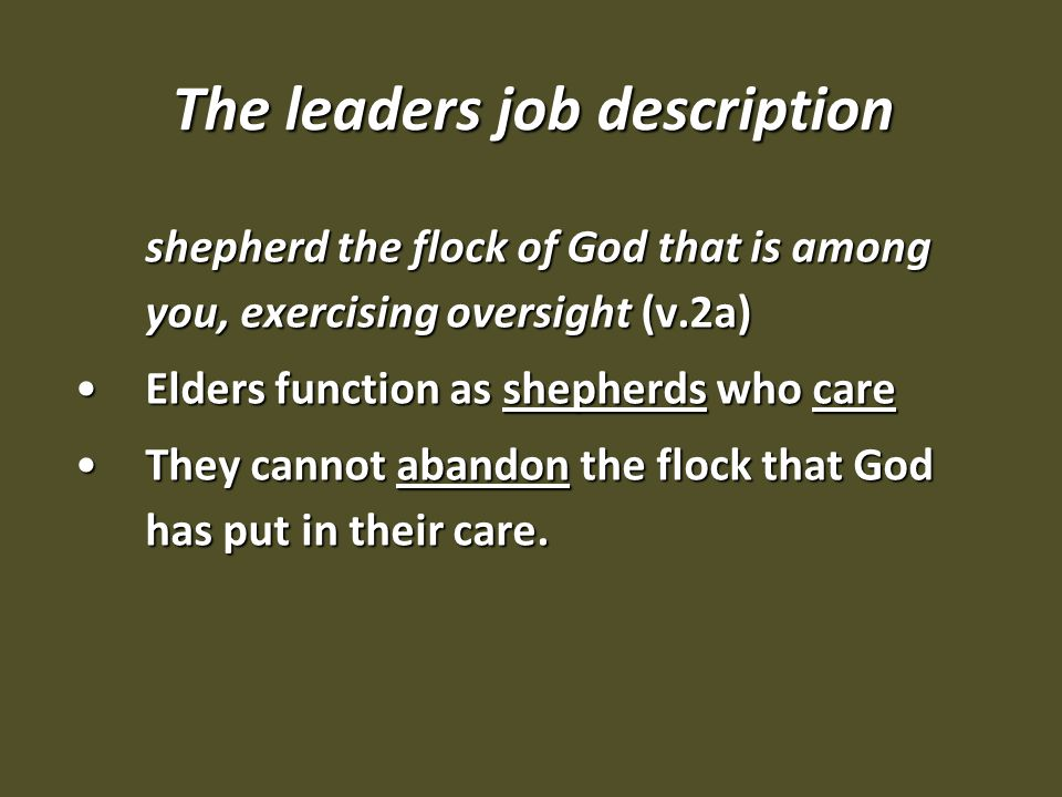 The leaders job description shepherd the flock of God that is among you, exercising oversight (v.2a) Elders function as shepherds who careElders function as shepherds who care They cannot abandon the flock that God has put in their care.They cannot abandon the flock that God has put in their care.