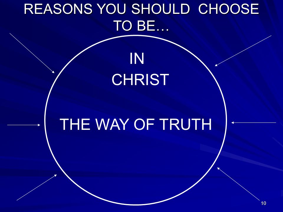 10 REASONS YOU SHOULD CHOOSE TO BE… IN CHRIST THE WAY OF TRUTH