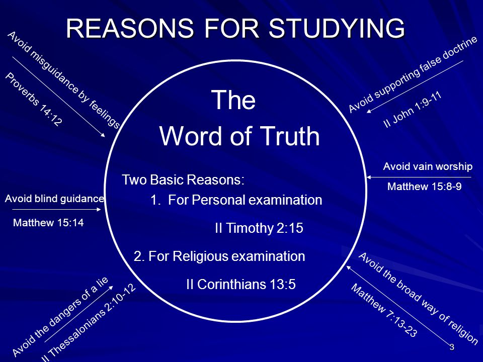 3 REASONS FOR STUDYING The Word of Truth Two Basic Reasons: 1.For Personal examination II Timothy 2:15 2.