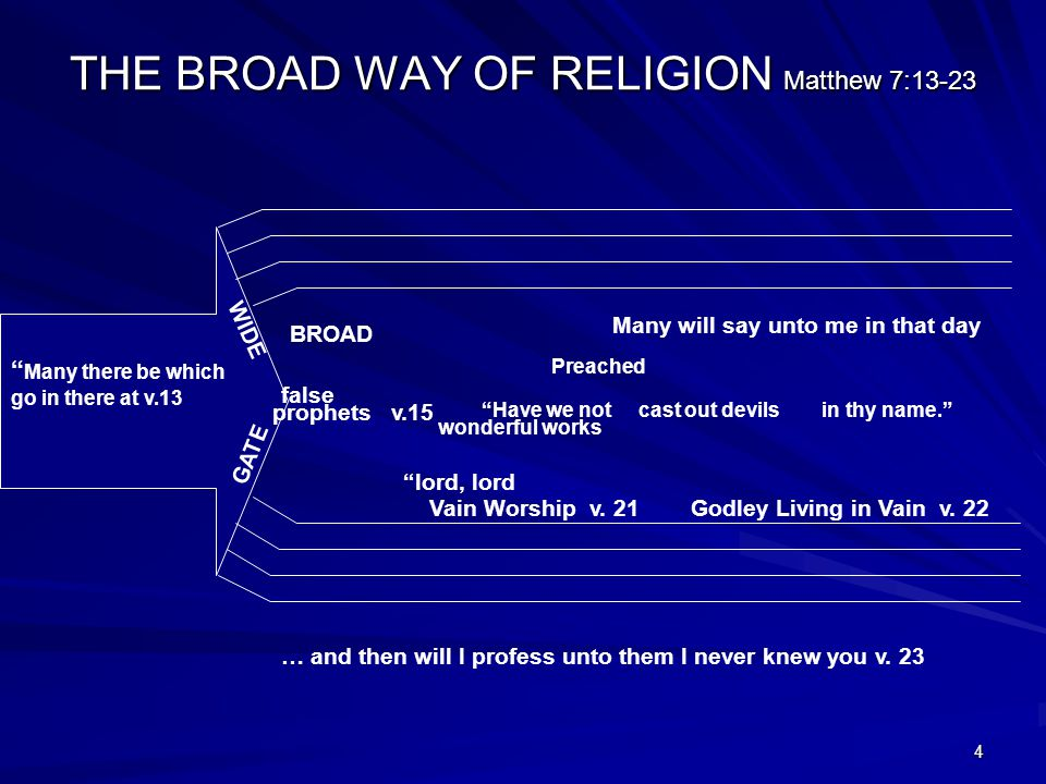 4 THE BROAD WAY OF RELIGION Matthew 7:13-23 Many there be which go in there at v.13 GATE prophets v.15 WIDE BROAD false Have we not wonderful works Preached cast out devilsin thy name. Many will say unto me in that day lord, lord Vain Worship v.