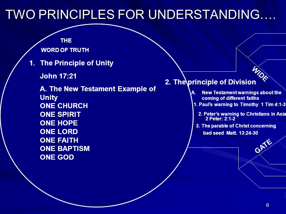 6 TWO PRINCIPLES FOR UNDERSTANDING…. WORD OF TRUTH THE 1.The Principle of Unity John 17:21 A.