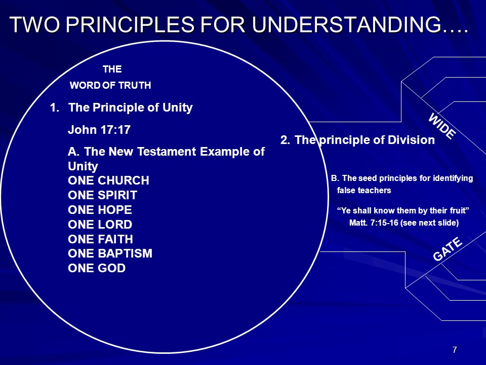 7 TWO PRINCIPLES FOR UNDERSTANDING…. WORD OF TRUTH THE 1.The Principle of Unity John 17:17 A.