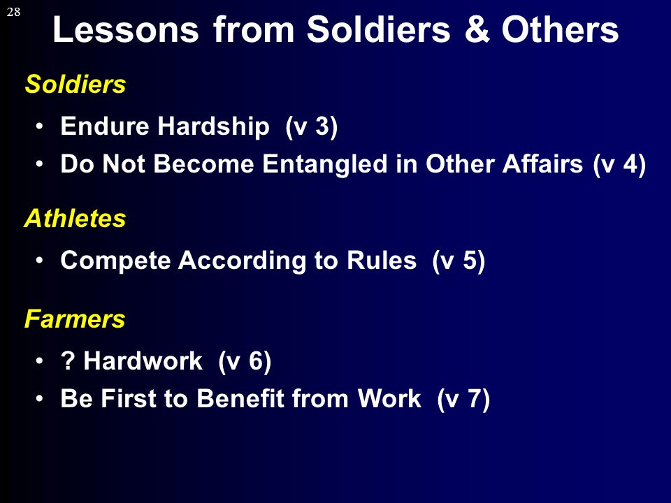 28 Lessons from Soldiers & Others Soldiers Endure Hardship (v 3) Do Not Become Entangled in Other Affairs (v 4) Athletes Compete According to Rules (v 5) Farmers .