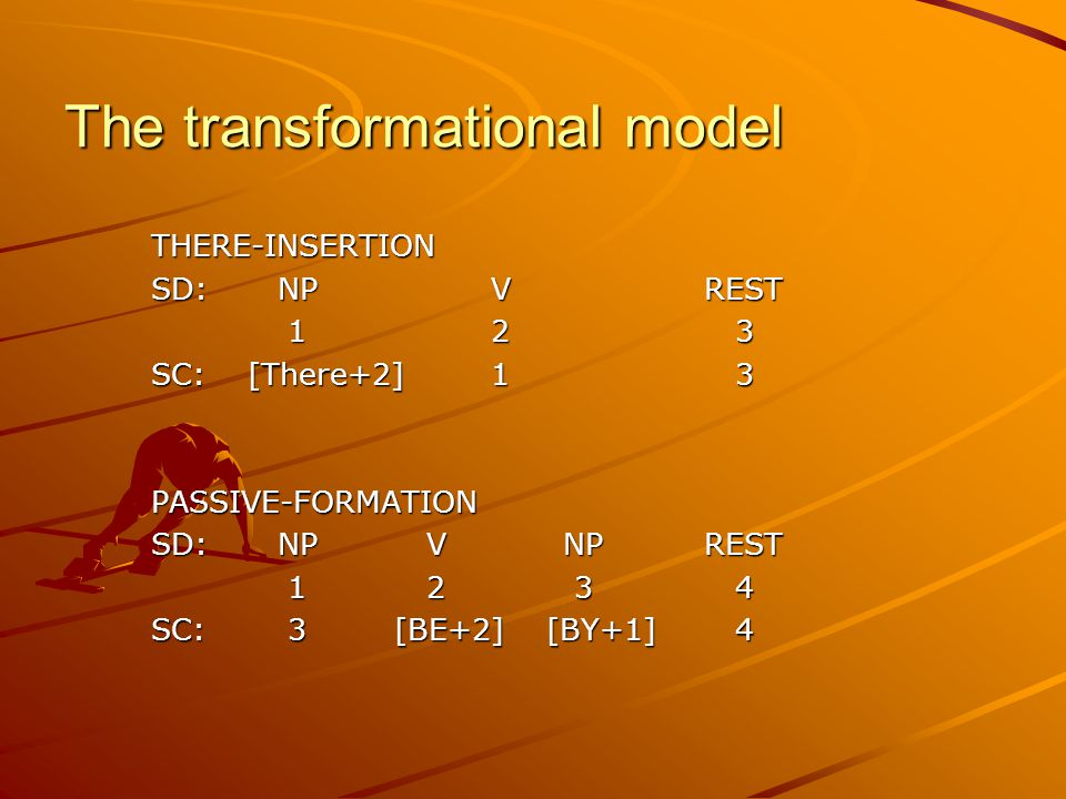The transformational model THERE-INSERTION SD:NP VREST 12 3 12 3 SC: [There+2]1 3 PASSIVE-FORMATION SD:NP V NPREST 1 2 3 4 1 2 3 4 SC: 3 [BE+2] [BY+1] 4