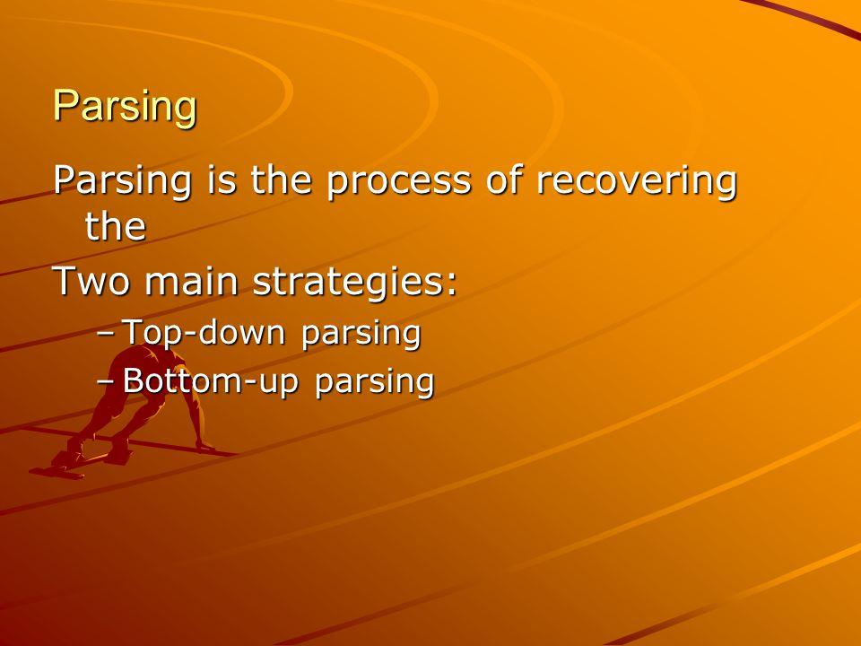 Parsing Parsing is the process of recovering the Two main strategies: –Top-down parsing –Bottom-up parsing