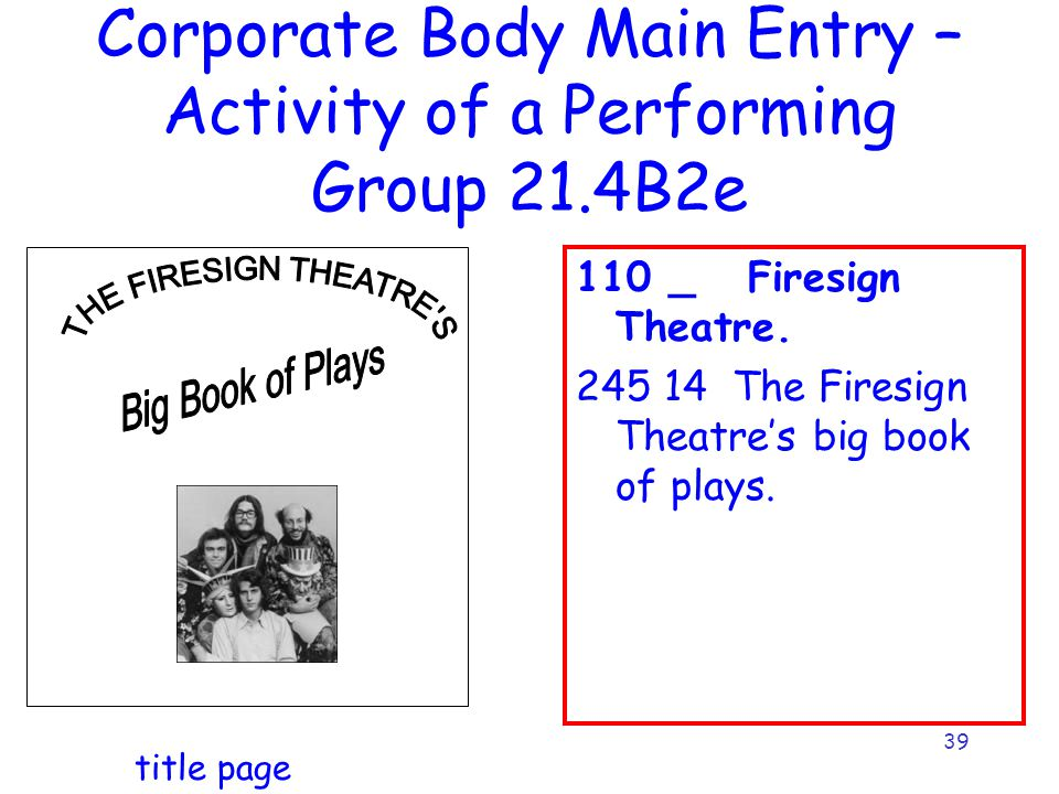 39 Corporate Body Main Entry – Activity of a Performing Group 21.4B2e 110 _ Firesign Theatre.