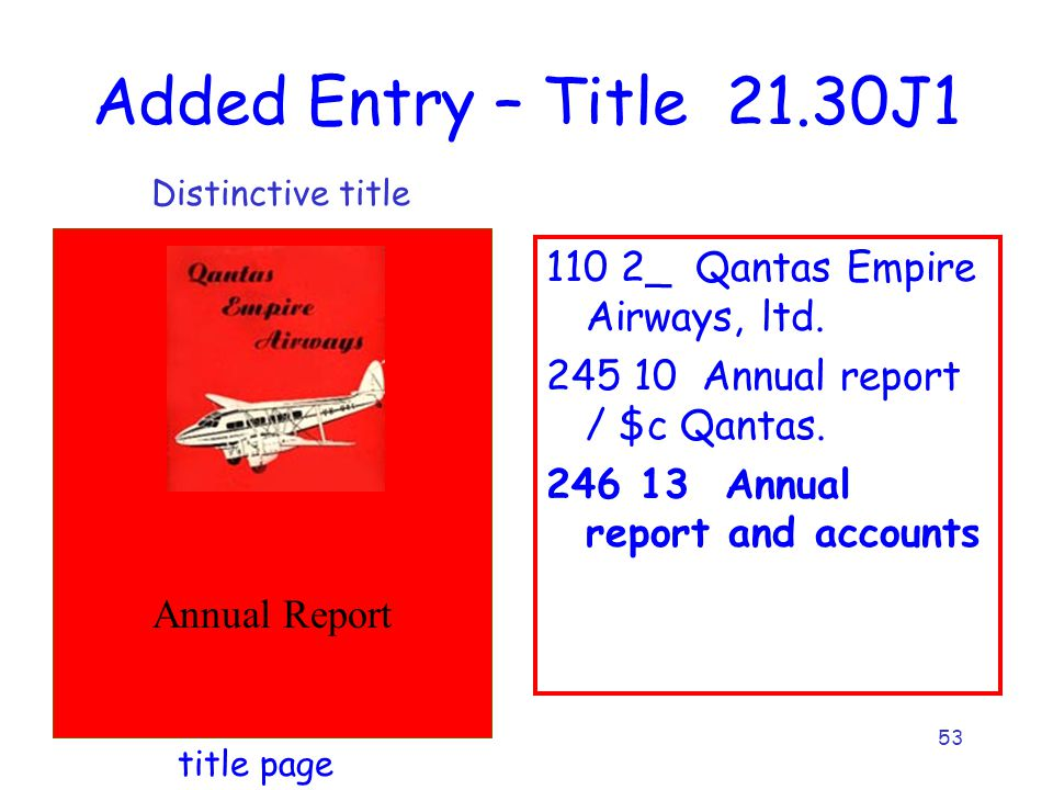 53 Added Entry – Title 21.30J1 Annual Report 110 2_ Qantas Empire Airways, ltd.