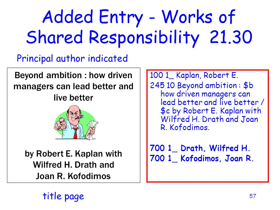 57 Added Entry - Works of Shared Responsibility _ Kaplan, Robert E.