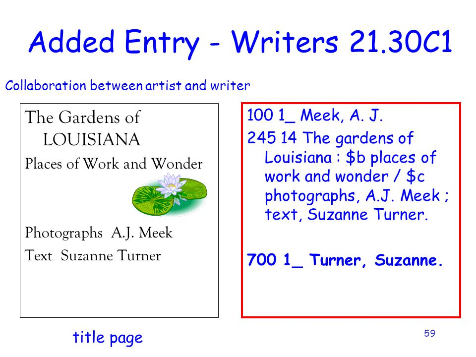 59 Added Entry - Writers 21.30C1 The Gardens of LOUISIANA Places of Work and Wonder Photographs A.J.