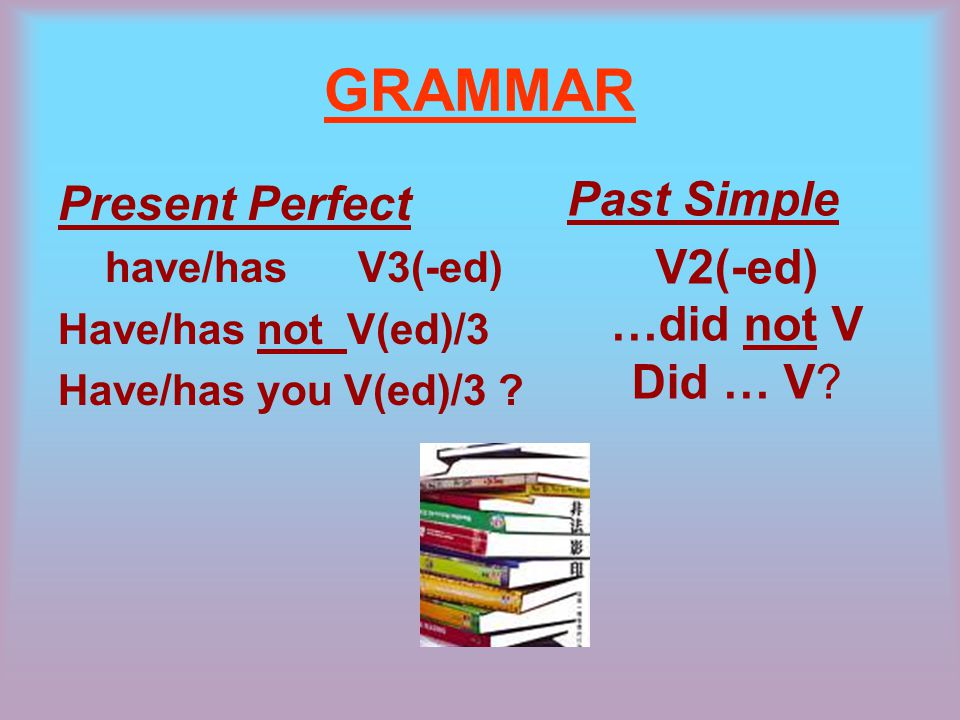 GRAMMAR Present Perfect have/has V3(-ed) Have/has not V(ed)/3 Have/has you V(ed)/3 .