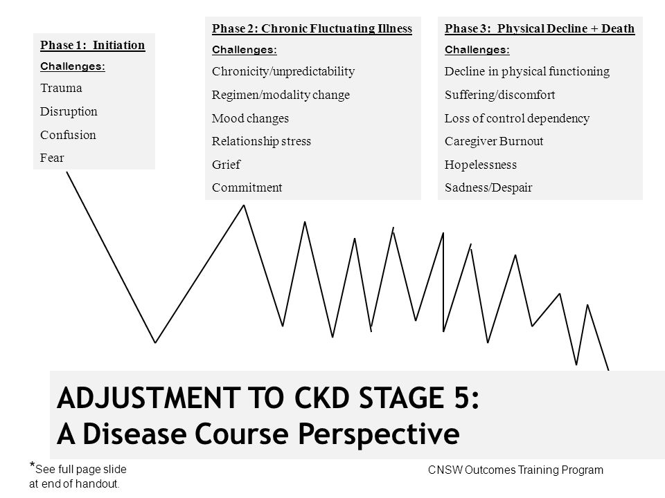 Phase 1: Initiation Challenges: Trauma Disruption Confusion Fear Phase 2: Chronic Fluctuating Illness Challenges: Chronicity/unpredictability Regimen/modality change Mood changes Relationship stress Grief Commitment Phase 3: Physical Decline + Death Challenges: Decline in physical functioning Suffering/discomfort Loss of control dependency Caregiver Burnout Hopelessness Sadness/Despair ADJUSTMENT TO CKD STAGE 5: A Disease Course Perspective CNSW Outcomes Training Program * See full page slide at end of handout.