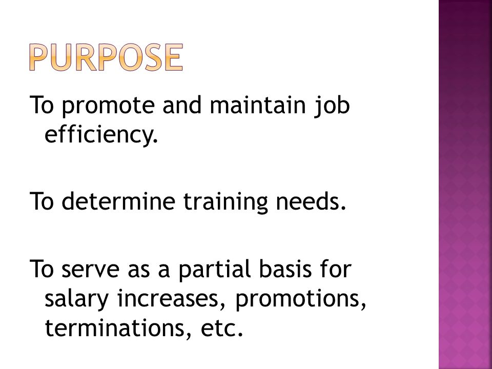 To promote and maintain job efficiency. To determine training needs.