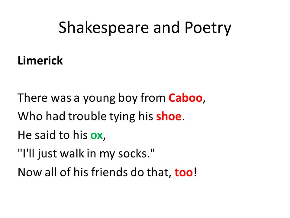 Shakespeare and Poetry Limerick There was a young boy from Caboo, Who had trouble tying his shoe.
