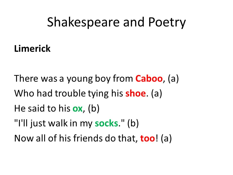 Shakespeare and Poetry Limerick There was a young boy from Caboo, (a) Who had trouble tying his shoe.