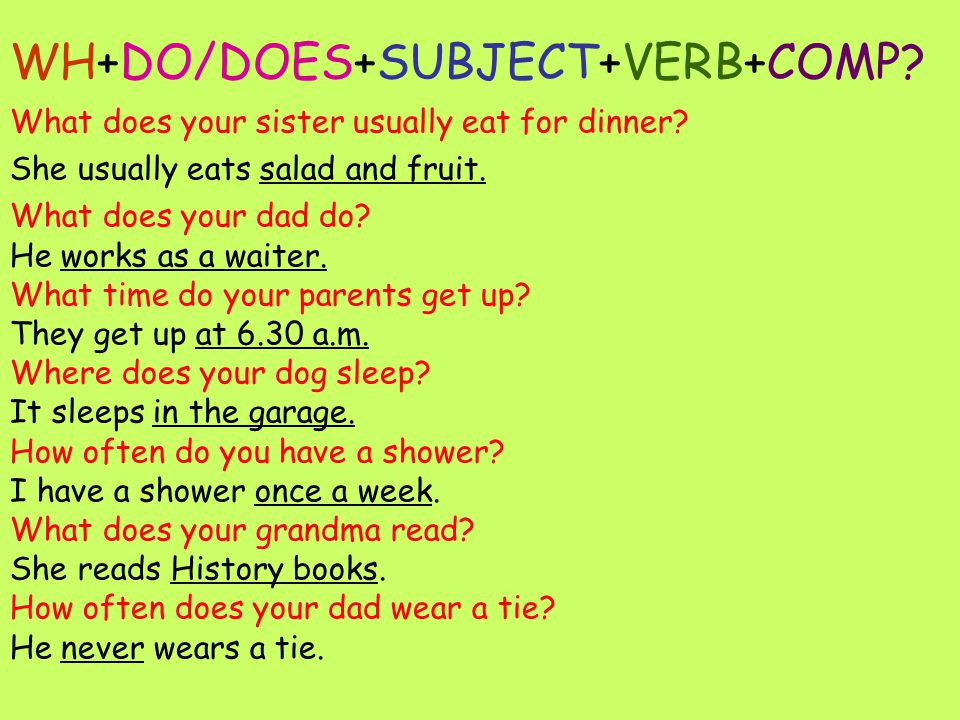 WH+DO/DOES+SUBJECT+VERB+COMP. What does your sister usually eat for dinner.