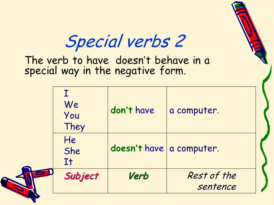 Special verbs 2 The verb to have doesn ' t behave in a special way in the negative form.