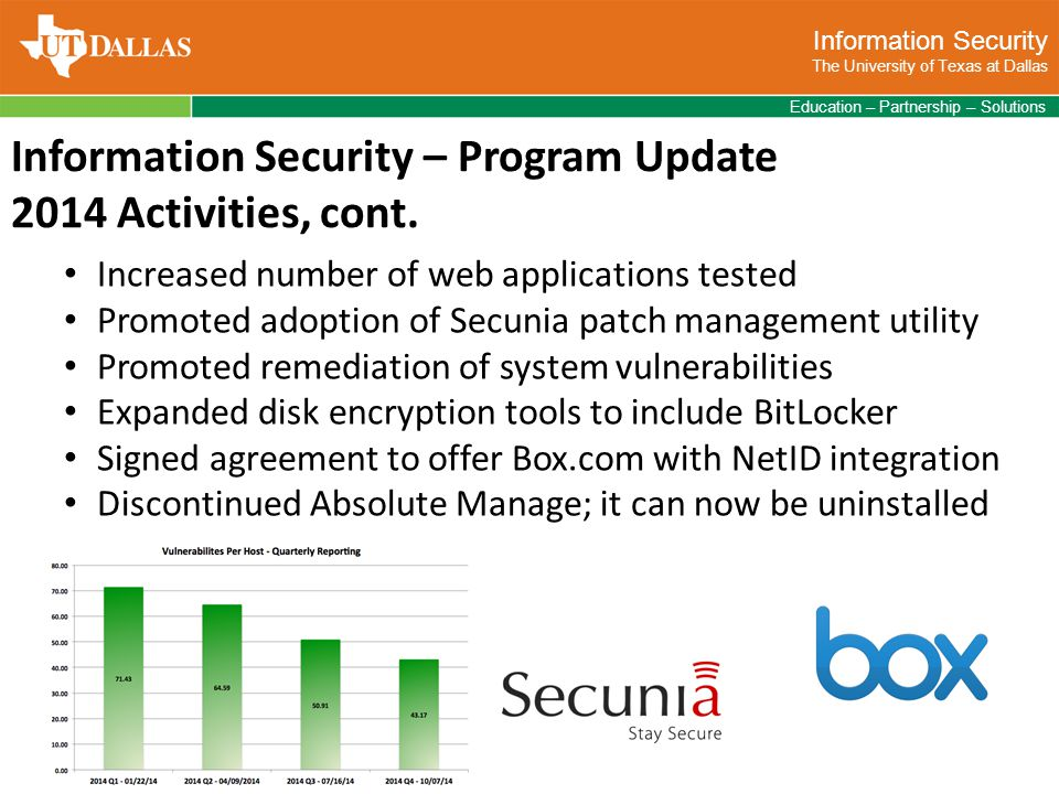 Information Security The University of Texas at Dallas Education – Partnership – Solutions Information Security – Program Update 2014 Activities, cont.