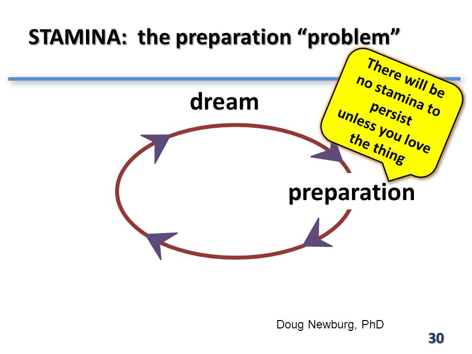 30 STAMINA: the preparation problem Doug Newburg, PhD dream preparation There will be no stamina to persist unless you love the thing There will be no stamina to persist unless you love the thing