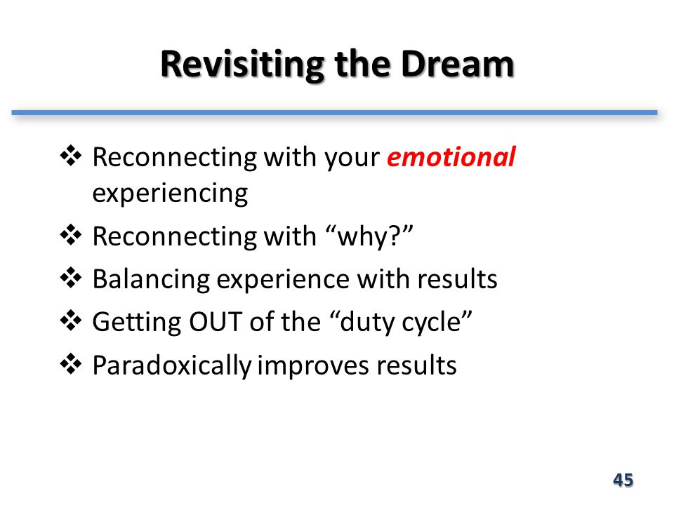 Revisiting the Dream 45  Reconnecting with your emotional experiencing  Reconnecting with why  Balancing experience with results  Getting OUT of the duty cycle  Paradoxically improves results