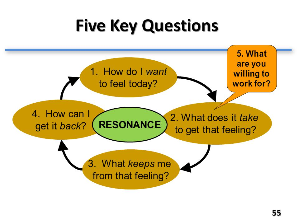 Five Key Questions 55 1. How do I want to feel today.