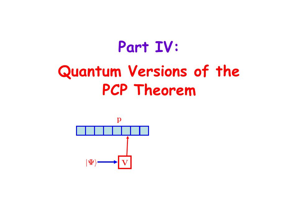 Part IV: Quantum Versions of the PCP Theorem