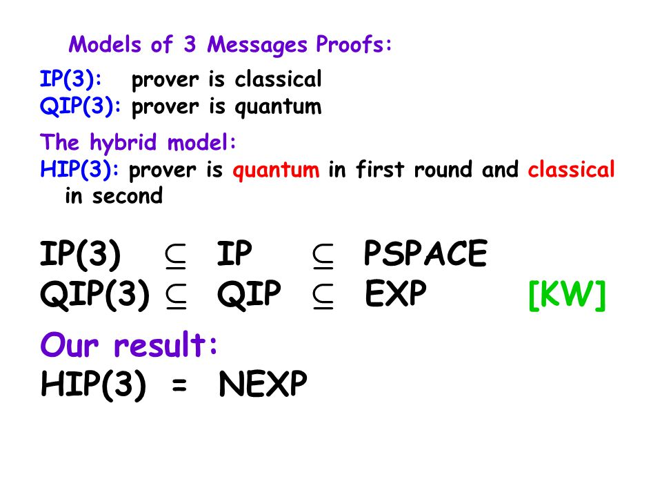 Models of 3 Messages Proofs: IP(3): prover is classical QIP(3): prover is quantum The hybrid model: HIP(3): prover is quantum in first round and classical in second IP(3) µ IP µ PSPACE QIP(3) µ QIP µ EXP [KW] Our result: HIP(3) = NEXP