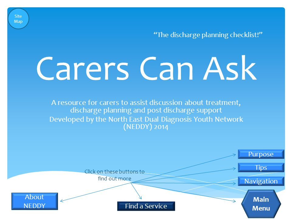Carers Can Ask A resource for carers to assist discussion about treatment, discharge planning and post discharge support Developed by the North East Dual Diagnosis Youth Network (NEDDY) 2014 The discharge planning checklist! Purpose Tips Navigation Click on these buttons to find out more About NEDDY Main Menu Find a Service Site Map