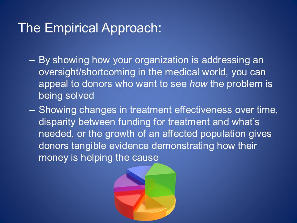 The Empirical Approach: –By showing how your organization is addressing an oversight/shortcoming in the medical world, you can appeal to donors who want to see how the problem is being solved –Showing changes in treatment effectiveness over time, disparity between funding for treatment and what's needed, or the growth of an affected population gives donors tangible evidence demonstrating how their money is helping the cause