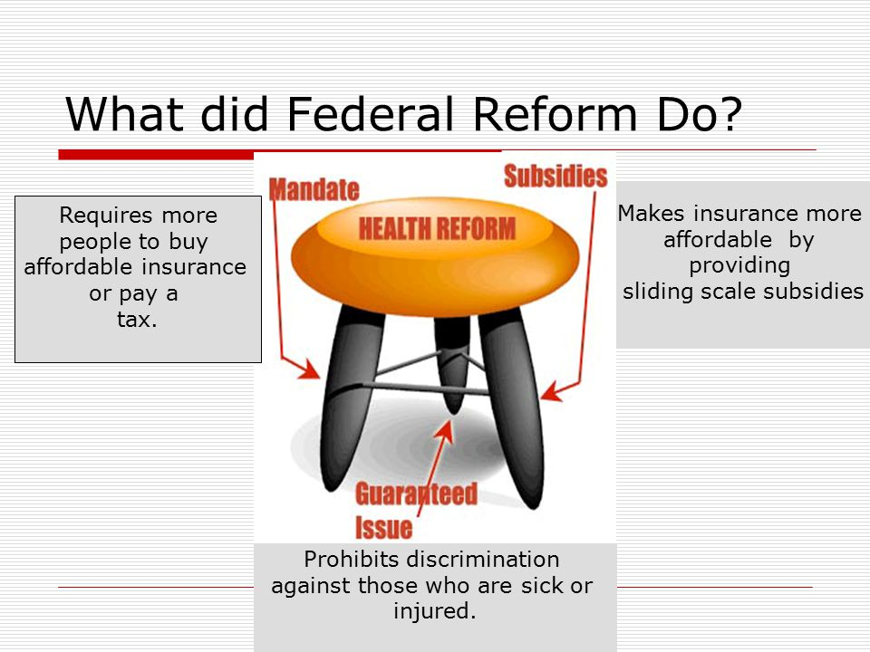 What did Federal Reform Do. Requires more people to buy affordable insurance or pay a tax.
