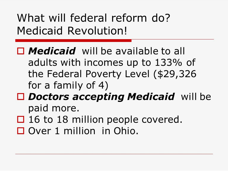 What will federal reform do. Medicaid Revolution.