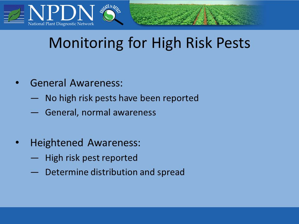 Monitoring for High Risk Pests General Awareness: —No high risk pests have been reported —General, normal awareness Heightened Awareness: —High risk pest reported —Determine distribution and spread