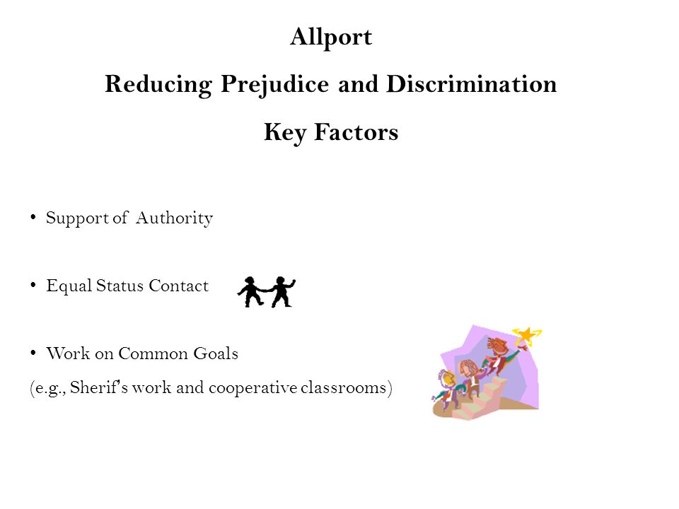 Allport Reducing Prejudice and Discrimination Key Factors Support of Authority Equal Status Contact Work on Common Goals (e.g., Sherif's work and cooperative classrooms)