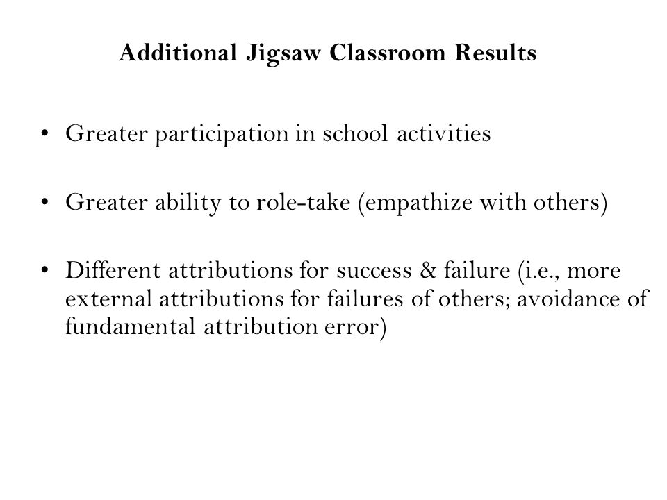 Greater participation in school activities Greater ability to role-take (empathize with others) Different attributions for success & failure (i.e., more external attributions for failures of others; avoidance of fundamental attribution error) Additional Jigsaw Classroom Results