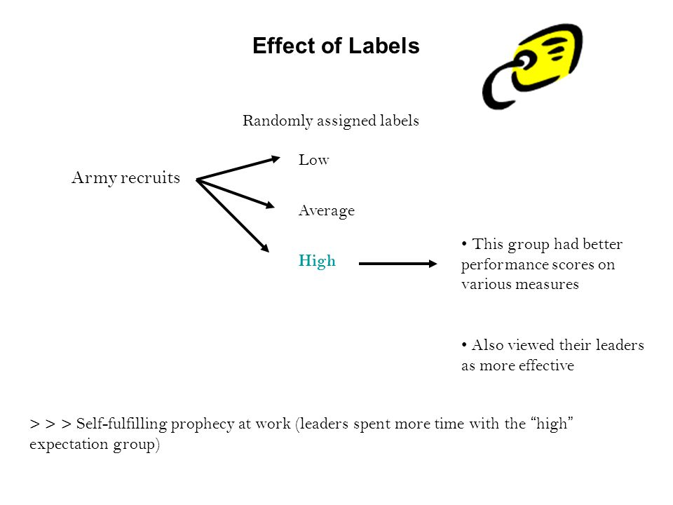 Effect of Labels Army recruits Randomly assigned labels Low Average High This group had better performance scores on various measures Also viewed their leaders as more effective > > > Self-fulfilling prophecy at work (leaders spent more time with the high expectation group)