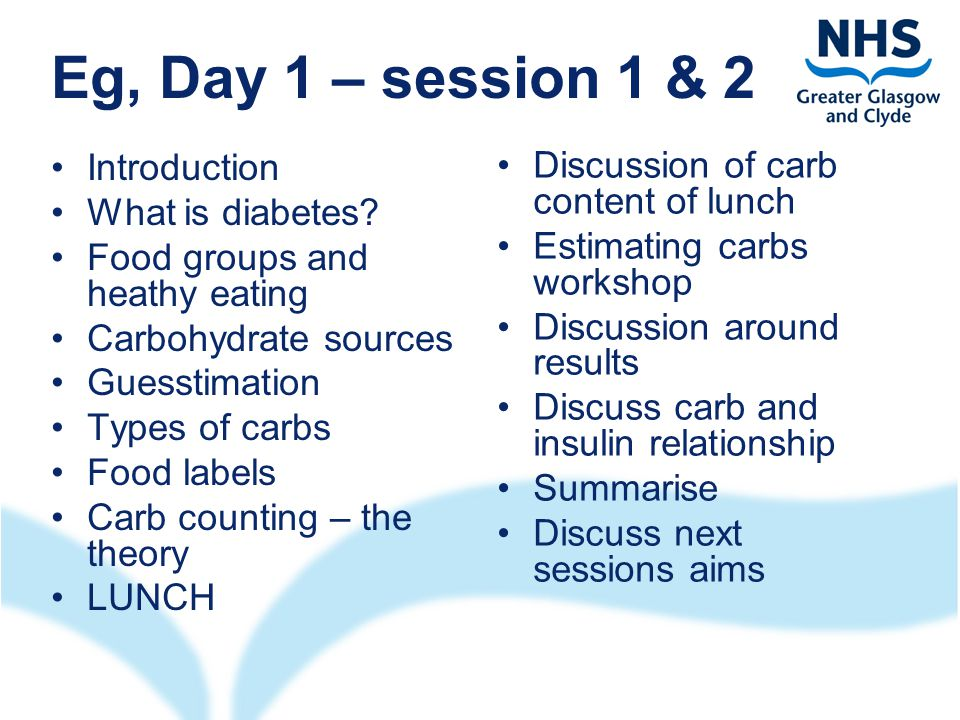 Eg, Day 1 – session 1 & 2 Introduction What is diabetes.