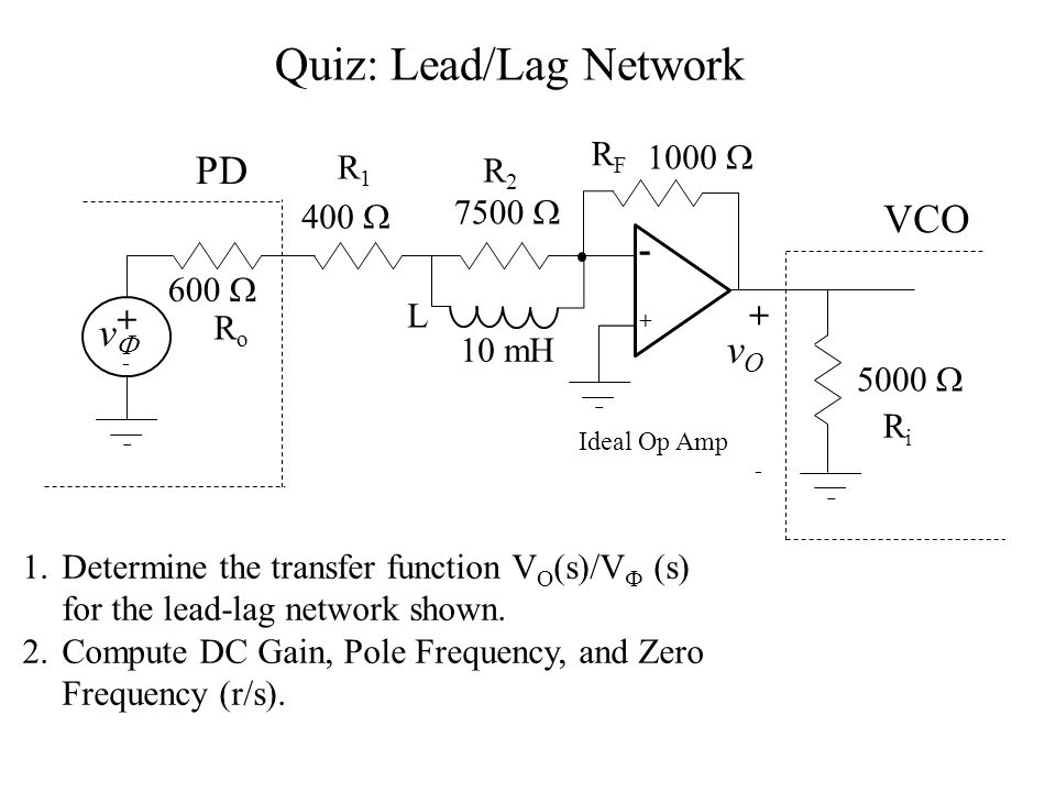 Quiz: Lead/Lag Network 1.Determine the transfer function V O (s)/V  (s) for the lead-lag network shown.